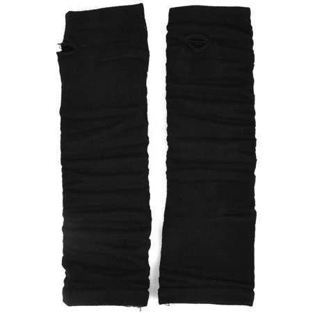 Lady Woman Elastic Fabric Stretchy Fingerless Arm Warmers Long Gloves Black Pair - Black Arm Warmers