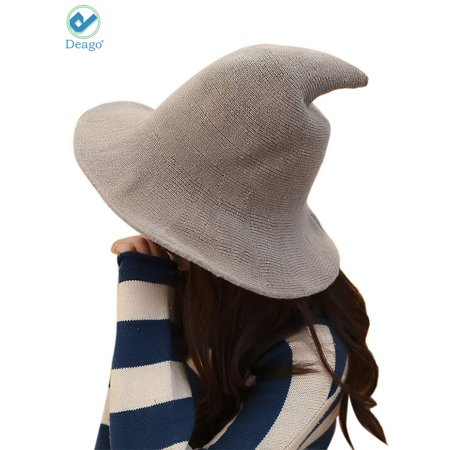 739515914e2 Deago - Deago Women Witch Hat Cotton Wool Fashion Witch Sun Hats For Halloween  Christmas Streetwear Party Accessories (Khaki) - Walmart.com