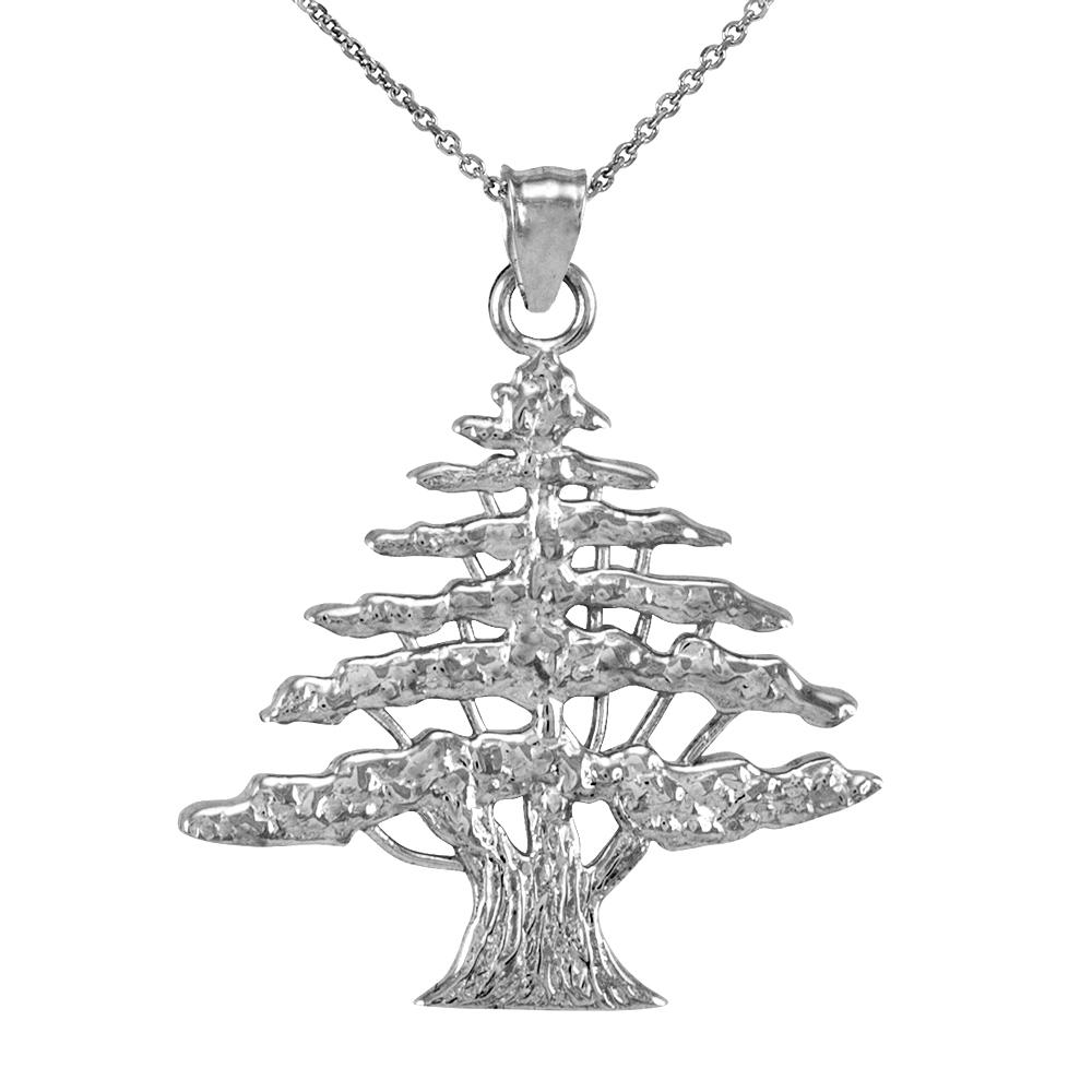 White Gold Lebanese Cedar Tree Pendant Necklace