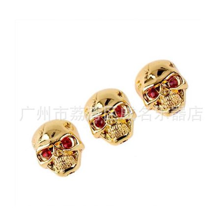 Skull Head Electric Guitar Bass Volume Tone Pot Control Knobs Buttons Skull Knob + Wrench Gold