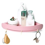 Edelvey Small Shower Caddy Corner Shelf Organizer with 3 Hooks Wall Mount No Drill Adhesive