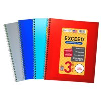 """Exceed Spiral Notebook, Wide Ruled, 3 Subject, 120 Pages, 8.5"""" x 10.5"""", Color Choice Will Vary, 77623"""