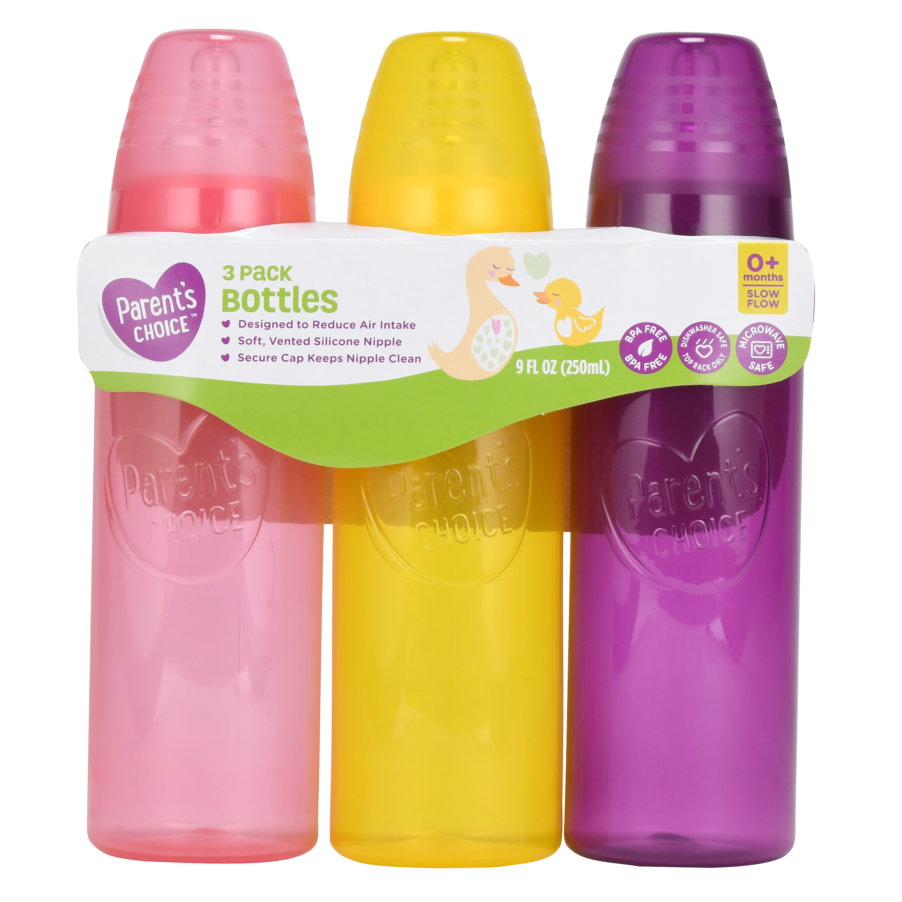 Parent's Choice Tinted BPA Free Baby Bottles - 9 Oz, 3 count