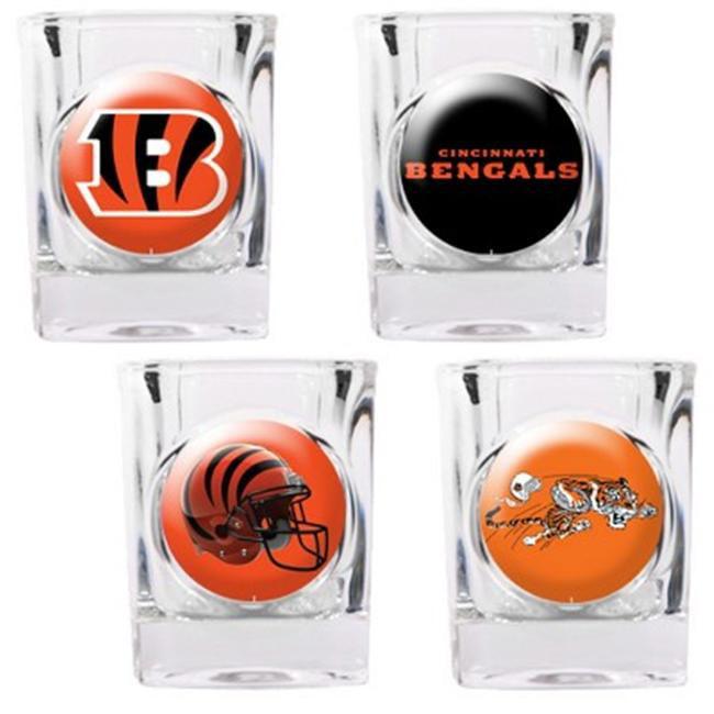 Great American Products 41118 4pc Collectors Shot Glass Set- Cincinnati Bengals