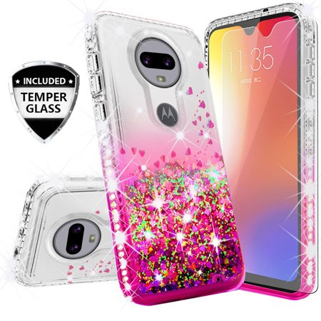 Diamond Pink Motorola Faceplates - Compatible for Motorola Moto G7 Case, with [Temper Glass Screen Protector] SOGA Diamond Glitter Liquid Quicksand Cover Cute Girl Women Phone Case - Clear / Pink