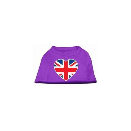 Image of Mirage 51-137 SMPR British Flag Heart Screen Print Dog Shirt Purple Sm