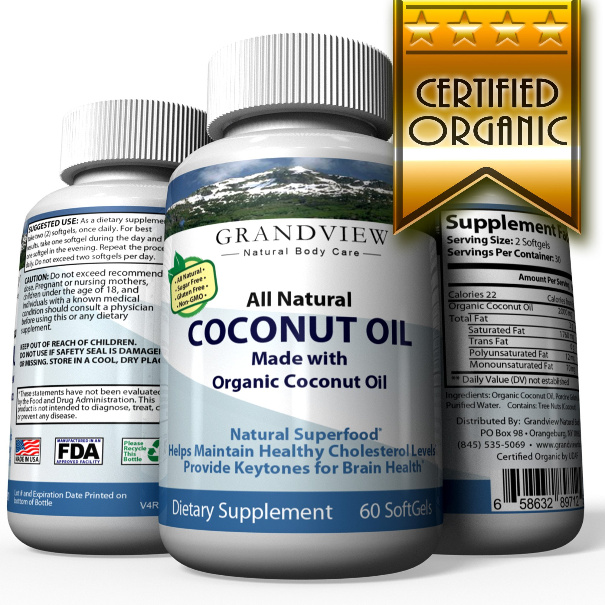 Organic Coconut Oil - 60 SoftGels -