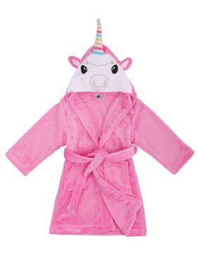 Animal Plush Soft Hooded Terry Bathrobe,Unicorn Pink,M(4-6 Years)