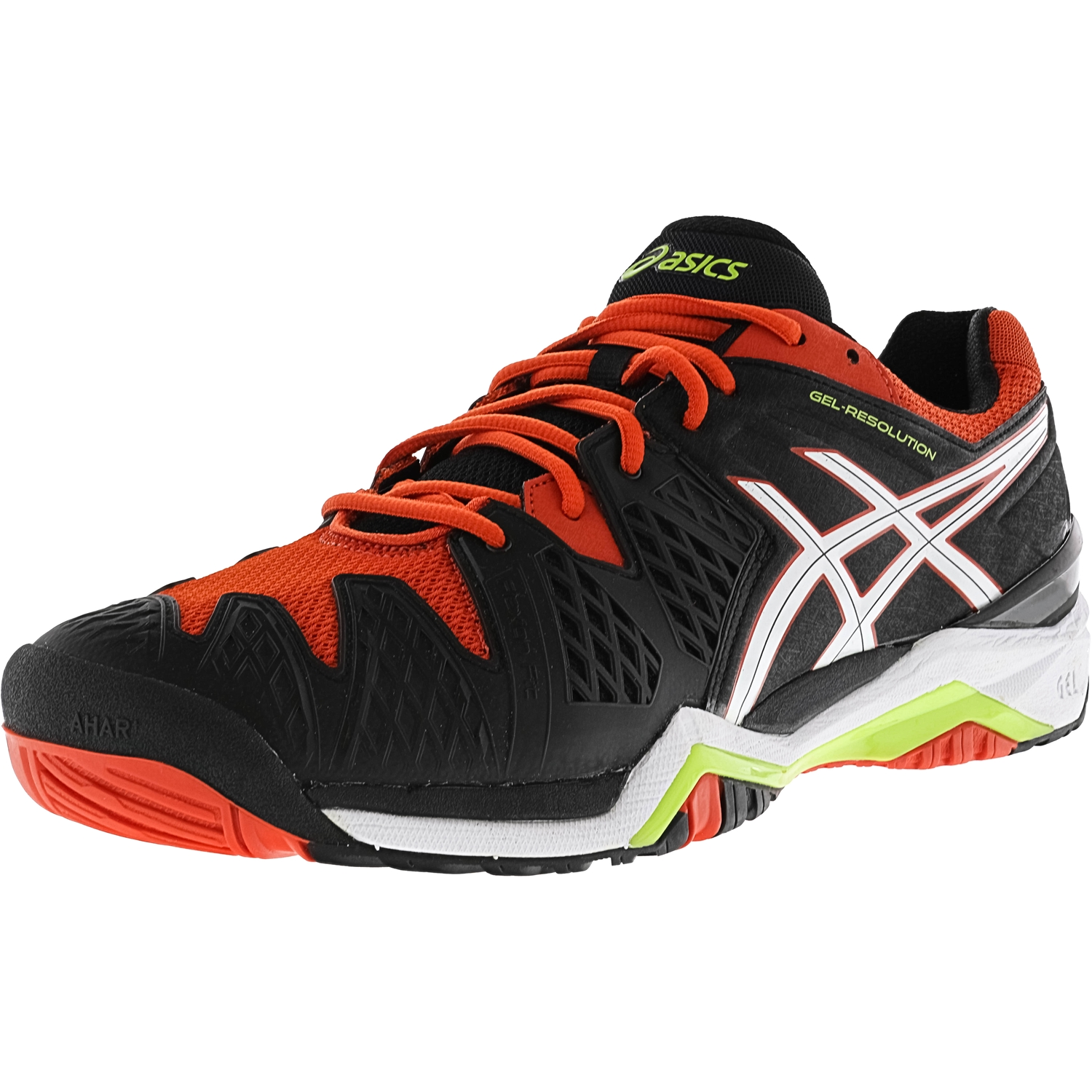 ASICS Asics Men's Gel Resolution 6 Black White Orange Ankle High Running Shoe 14M