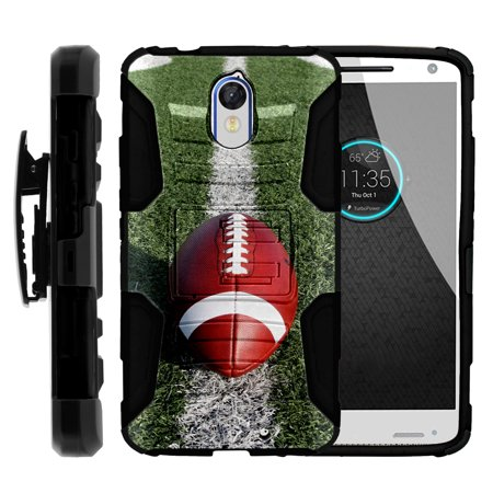 Motorola Droid Turbo 2 XT1585 Miniturtle® Clip Armor Dual Layer Case Rugged Exterior with Built in Kickstand + Holster - Football On