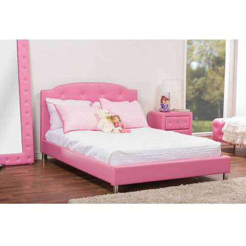 Canterbury Leather Contemporary Full Bed, Pink