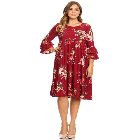 86af7222c21 MOA COLLECTION Women s Plus Size Floral Print Loose Fit Flare 3 4 Bell  Sleeve Midi Dress Made in USA
