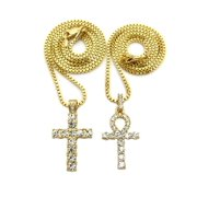 Iced Out Ankh, Cross Pendant 20, 24 Box Chain 2 Necklace Set