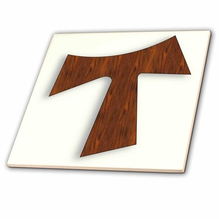 3dRose Rosewood Tau Cross on a light cream background - Ceramic Tile,