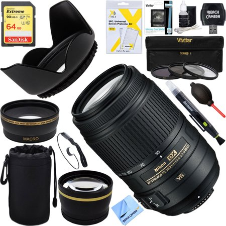Nikon 2197 - 55-300mm f/4.5-5.6G ED VR AF-S DX NIKKOR Lens for Nikon Digital SLR Cameras + 64GB Ultimate Filter Bundle ()