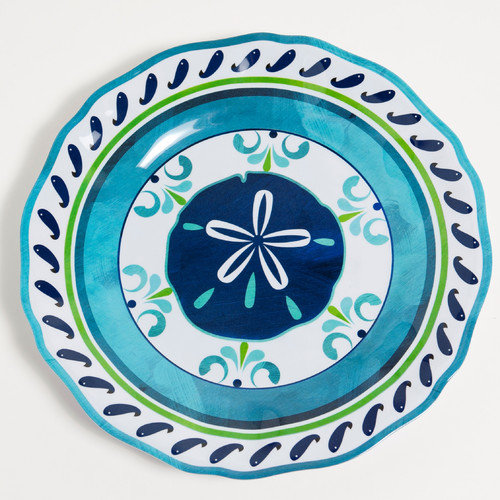 Galleyware Company Yacht and Home 11'' Sand Dollar Melamine Non-Skid Dinner Plate (Set of 4)