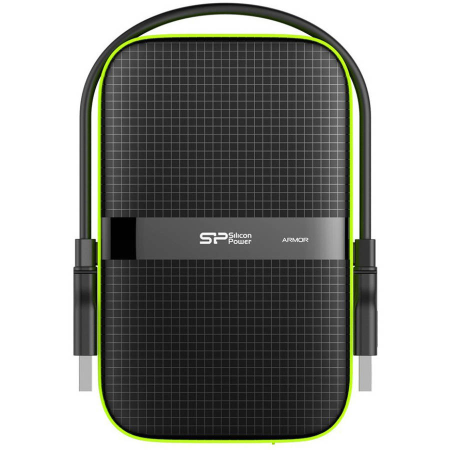 "Silicon Power SP020TBPHDA60S3K 1TB Rugged Armor A60 Shockproof/Water-Resistant 2.5"" USB 3.0 Military-Grade Portable External Hard Drive, Black"