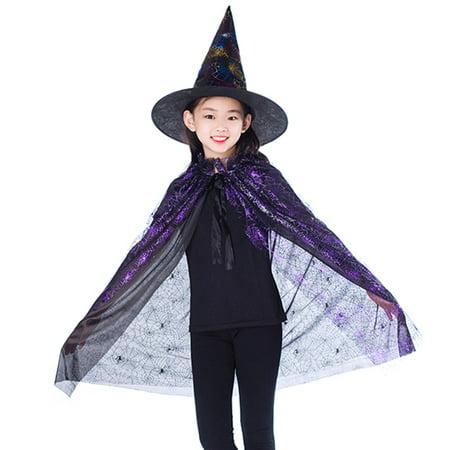 Child Witch Hat (SHOPFIVE Chic  Boy Girl Kids Children Halloween Costumes Witch Wizard Spider Cloak Gown Robe And Hat Cap Halloween)