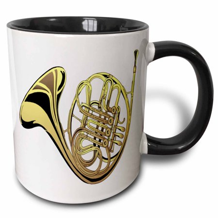 3dRose Large Gold French Horn - Two Tone Black Mug, 11-ounce