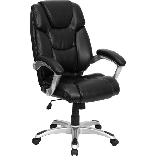 leather executive high-back office chair with waterfall seat