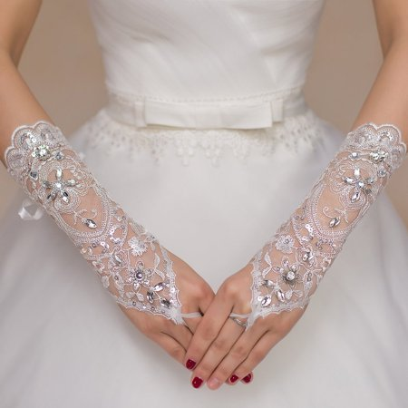 Lace Long Wedding Gloves Bride Soft Fingerless Embroidery Dress Stretch Satin With Artificial Diamond
