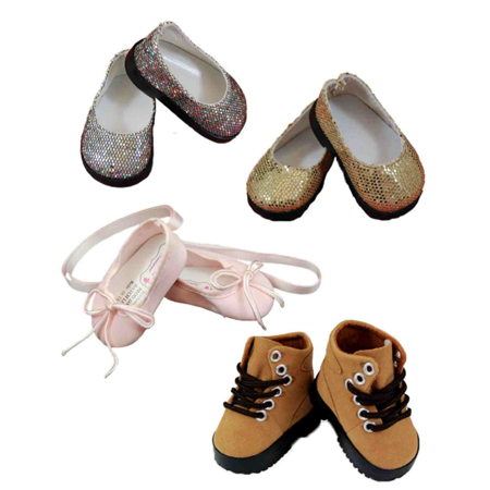 "Doll Shoes Accessory Set, Gold Sandals, Silver Slip on, Pink Ballet Slipper, & Brown Hiking Boots, Accessories For 18"" Girl Dolls"