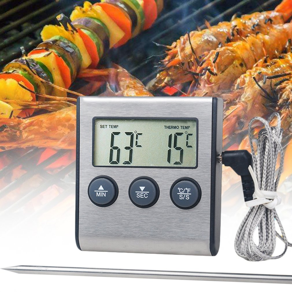 Digital Remote Wireless Food Kitchen Oven Thermometer Probe For BBQ Grill Oven Meat Timer Temperature Manually... by