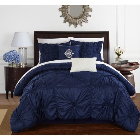 Chic Home 10-Piece Hyatt Floral Pinch Pleat Ruffled Comforter Set ()