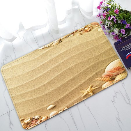 GCKG Love Beach Sand Sunlight Hearts Seashells Starfish Non-Slip Doormat Indoor/Outdoor/Bathroom Doormat 30 x 18 Inches ()