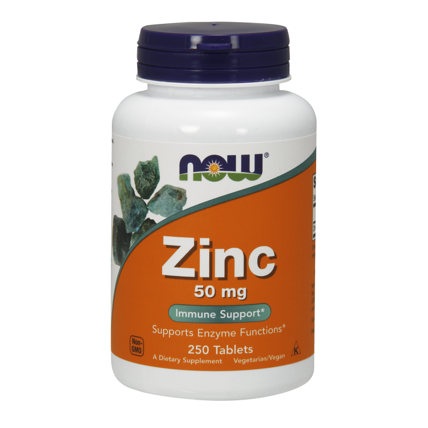 NOW Zinc Gluconate Tablets, 50mg, 250 Ct