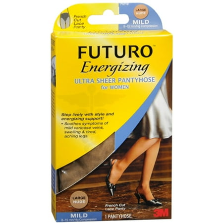 FUTURO Energizing Ultra Sheer Pantyhose For Women French Cut Lace Panty Mild Large Nude 1 Pair (Pack of 2)