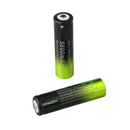 2 Pcs 5800mAh Skywolfeye 18650 Battery 3.7-4.2V Li-ion Rechargeable Batteries Cell Charger