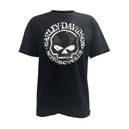 Men's T-Shirt, Hand Made Willie G Skull Distressed 30294030, Harley - Harley Davidson Novelties