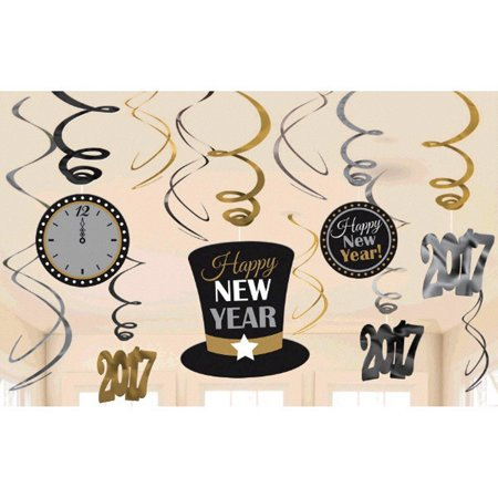 2017 New Years Glasses (New Years Eve 2017 Value Pack 12 Ct Hanging Foil Swirls)