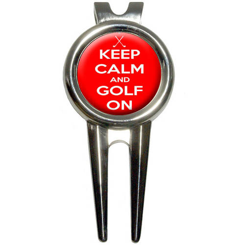 Keep Calm and Golf On/Crossed Clubs Golfing Golf Divot Repair Tool and Ball Marker