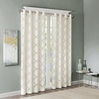 """Eden Fretwork Burnout Sheer Panel Ivory 84"""" Panel, Stylish yet delicate, the Madison Park Eden Fretwork Sheer Curtain will update and soften any room. The.., By Madison Park"""
