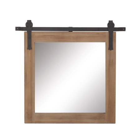 Decmode 31 X 34 Inch Square Wood and Metal Wall Mirror, Brown ()