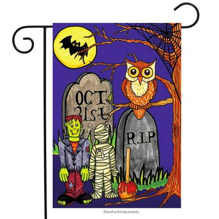 Monster Mash Halloween Garden Flag Tombstones Owl 12.5