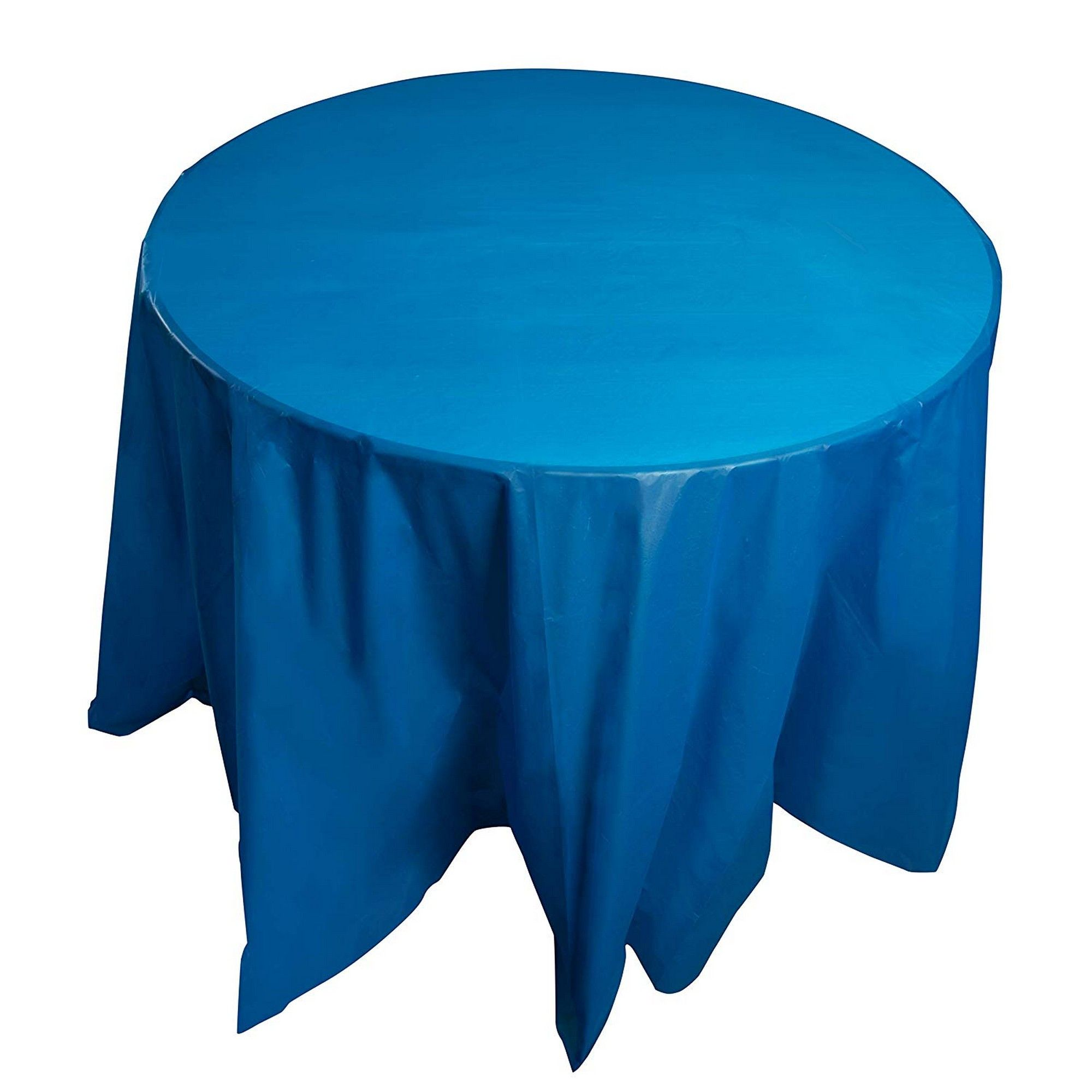 12 Pack Blue Plastic Tablecloth Round 84 Inch Disposable Table Cover Fits Up To 72 Inch Round Tables Solid Blue Color Indoor Outdoor Party Supplies Walmart Com Walmart Com