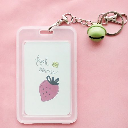 Cartoon Transparent Plastic Card Holder Keyring Sleeve Set Bus Card Case Bag with Bell Chain Fruit Series - Strawberry