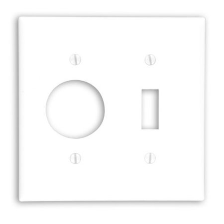 "Leviton 88007 White Two Gang Combination Toggle Switch 1.406"" Single Receptacle Wall Plate"