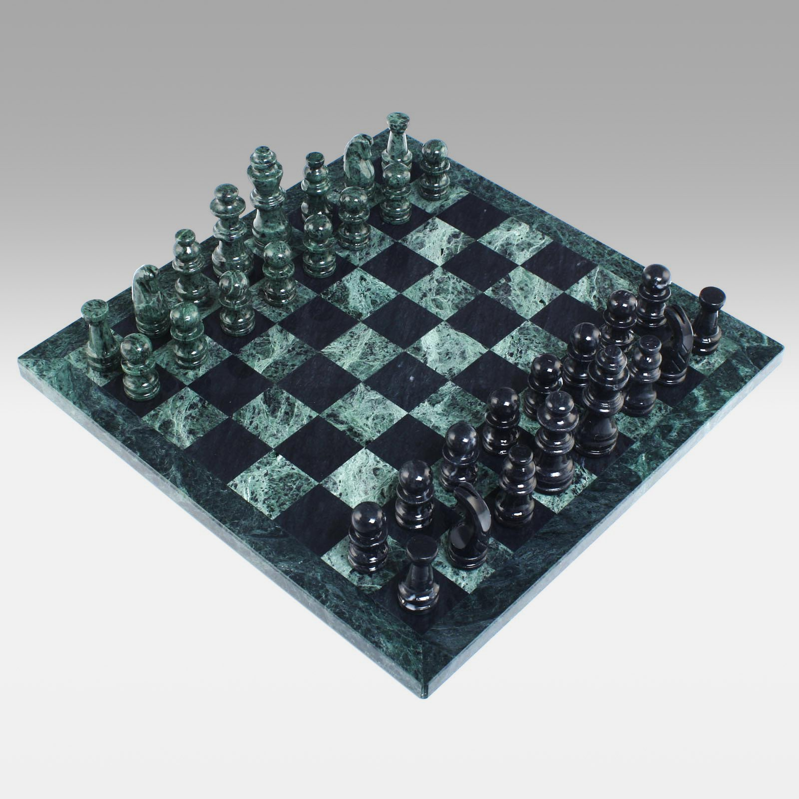 Black and Green Marble Chess Set by CHH Quality Product Inc