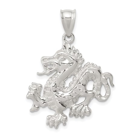 - 925 Sterling Silver Textured Chinese Dragon Pendant Charm Necklace Skull Dagger For Women