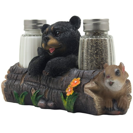 Black Bear with Squirrel Glass Salt and Pepper Shaker Set with Decorative Holder Figurine As Cabin & Lodge Kitchen Decor by Home 'n Gifts