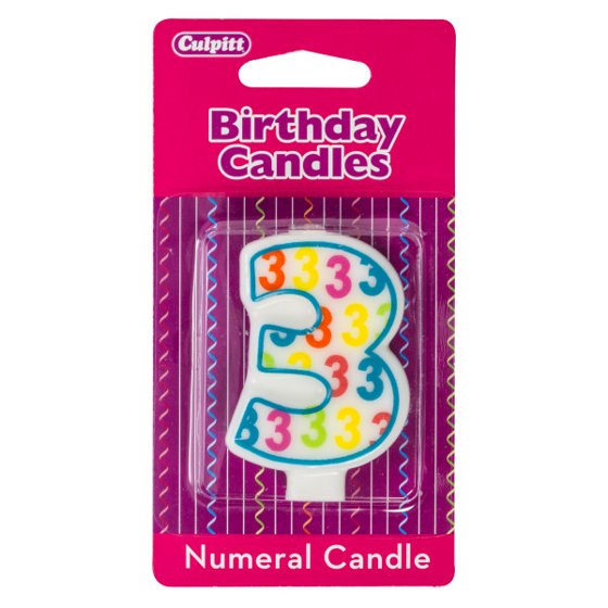 Number 3 Pattern Numeral Candle