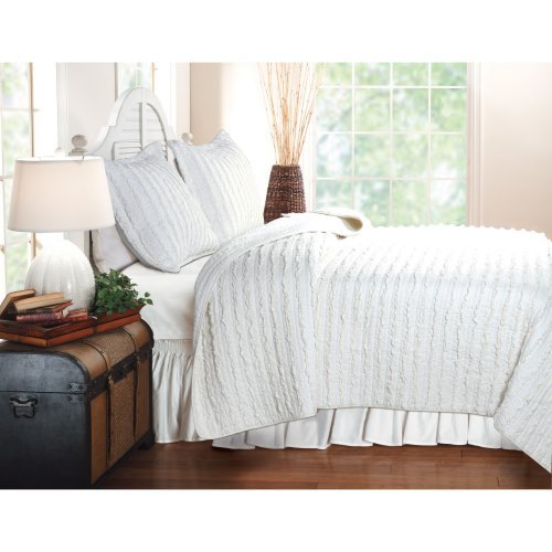 Greenland Home Fashions Ruffled - 2 Piece Quilt Set - White