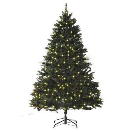 HOMCOM 7' PVC 700 Pre Lit Warm White LED Artificial Christmas Tree - Green