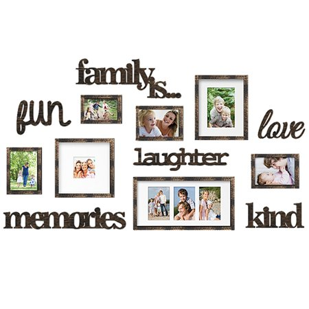 DL furniture - Family Set Photo Frame & Plaque College Frame - Wall Decoration Combination - PVC Picture Frame Selfie Gallery Collage With Full Size Hanging Template & Wall Mounting (5 Custom Photo Templates)