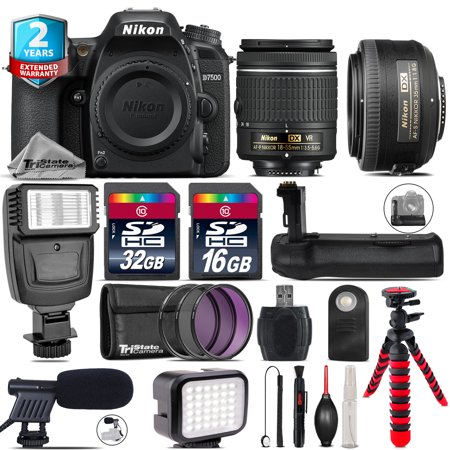 Nikon D7500 DSLR Camera + AF-P 18-55mm VR + 35mm f/1.8 + LED Kit + Flash +