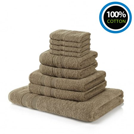 100% Cotton Towels Hotel & Spa Bale Set| 4 Washcloths 2 Hand Towels 2 Bath Towel 1 Bath Sheet For Bathroom